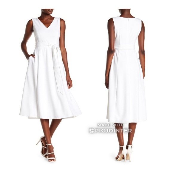 a31c2d3d3f Calvin Klein Tie Fit Flare Midi Dress White 6